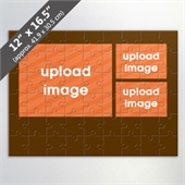 Custom 3-Picture Jigsaw Puzzle with Brown Border