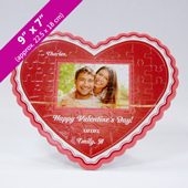 Red Heart-Shaped Personalized Photo Puzzle