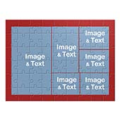 Make Own Red Photo Collage Puzzle with 6 Photos