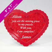 Red Heart-Shaped Puzzle with Custom Message