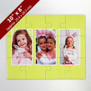 Custom 3-Photo Kid's Puzzle with Yellow Border