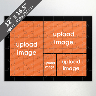 Custom 4 Picture Jigsaw Puzzle With Black Border