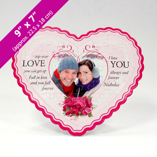 White Heart-Shaped Personalized Photo Puzzle
