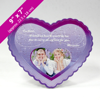 Purple Heart Puzzle With Heart Shaped Photo
