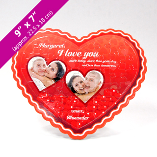 Custom Heart-Shaped Puzzle with Two Photos