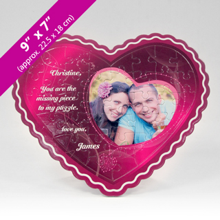 Fuchsia Heart Puzzle with Heart-Shaped Photo