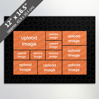 Design Own Black Photo Collage Puzzle with 11 Photos