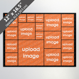 Custom Black Photo Collage Puzzle with 18 Photos