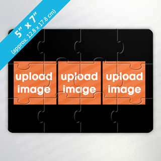 Create Own 3-Photo Puzzle Card with Black Border